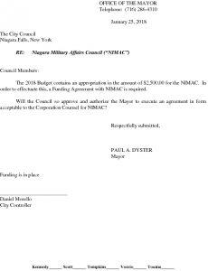 Icon of Niagara Military Affairs Council NIMAC Funding Agreement 2018