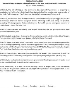 Icon of New York State Health Foundation Niagara Falls City Council Resolution