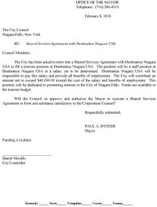 Icon of Destination Niagara Shared Services Agreement Approval Request#2