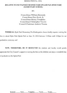 Icon of #17  FEE WAIVER FOR HYDE PARK SPLASH PAD (Hyde Park Elementary)