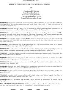 Icon of #23 Resolution Honoring Joe Cale & Joe Colavecchia