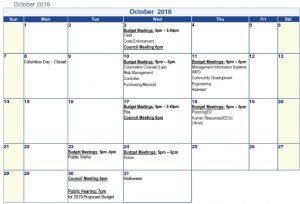 Icon of #14 Attach October 2018 Budget Meeting Calendar