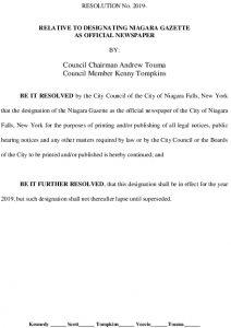 Icon of #9 Niagara Gazette Official Newspaper Resolution
