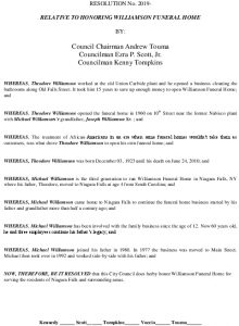 Icon of #7 RESOLUTION HONORING WILLIAMSON FUNERAL HOME