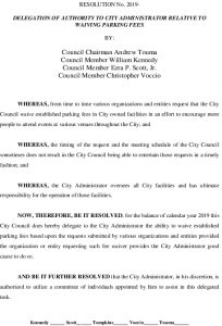 Icon of #10 City Admin - Waive Parking Fees - Resolution