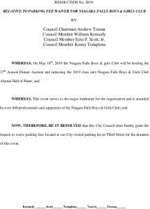 Icon of #14 Resolution - Parking Fee Waiver Niagara Falls Boys & Girls Club