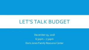 Icon of Let's Talk Budget Presentation - 12.19.2018