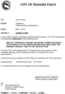 Icon of #9 Council Agenda MAY Overnight Parking - Walnut Ave (18th-19th)