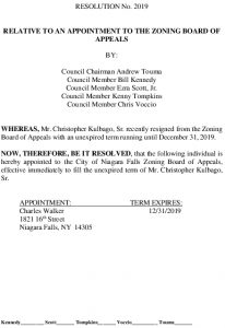 Icon of #9 Zoning Board Of Appeals - Appointment (Walker)