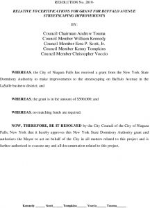 #7 Resolution - Grant For Streetscaping Buff Ave