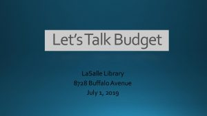 Icon of Lets Talk Budget Presentation - 07.01.19