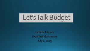 Icon of Lets Talk Budget Presentation - 07.01.19