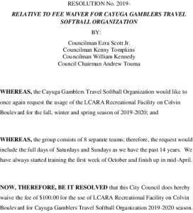 Icon of #18 RESOLUTION No Relative To Fee Waiver For Cayuga Gamblers