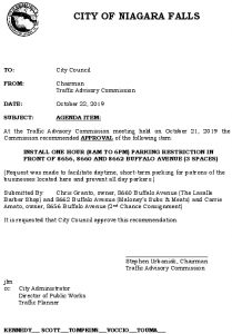 Icon of #9 Council Agenda OCT 1 Hour Parking - Buffalo Ave (8660, 8662 & 8656)