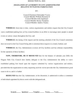 Icon of #6 Resolution Waive Parking Fees