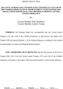Icon of #11 Repeal Ordinance 1121 & 1140, Replace With New 1309
