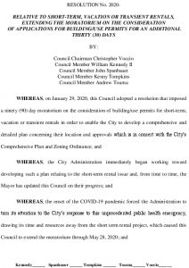 Icon of #6 Resolution To Extend The Moratorium Short Term Rentals