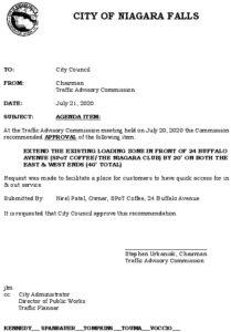 Icon of #8 Council Agenda JULY 40' Loading Zone - 24 Buffalo Ave