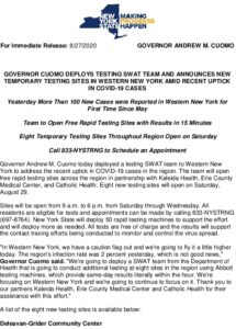 Icon of Press Release From Gov Cuomo COVID-19 Testing 082720
