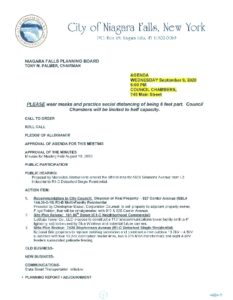 Icon of Planning Board Agenda 9/9/2020