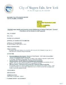Icon of Planning Board Agenda 9/9/2020
