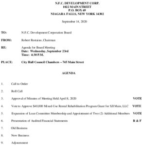 Icon of NFC Meeting Agenda 09/23/2020
