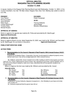 Icon of Planning Board Minutes 10/14/2020