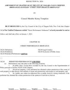 Icon of #12 Resolution - Amend Ordinance 342 - Street Performer