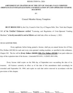 Icon of #13 Resolution - Amend Ordinance 303.04 - Vending Machine License Fee Late Charges