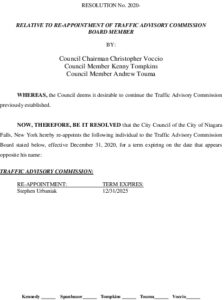 Icon of #14 Resolution Traffic Advisory Board Reappointment