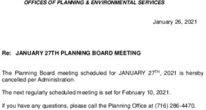 Icon of Planning Board Meeting 1/27/2021 - CANCELLED