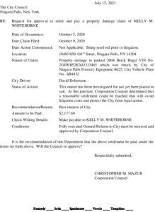 Icon of #18 Council Action Memo (Whitehorne) - Settlement