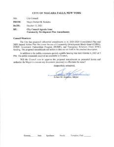 Icon of #1 Mayor Letter - Community Development Plan Amendments